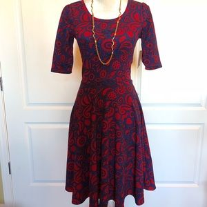 Lularoe XS Nicole Dress red & blue Paisley NWT
